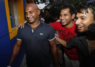 Sanath Jayasuriya, on his way to meet Sri Lankan players in an attempt to resolve the stand-off with the board, Colombo, March 3, 2013