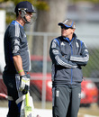 Kevin Pietersen and Andy Flower have a chat during training