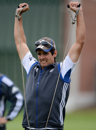 Alastair Cook is hard at work during training, Dunedin, March 4, 2013