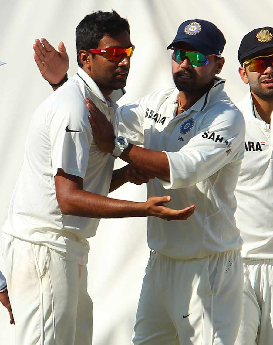 R Ashwin is congratulated by M Vijay after David Warner's wicket