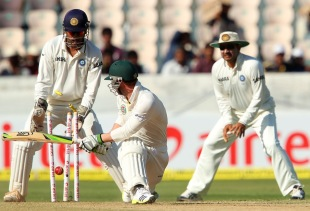 Phillip Hughes was also bowled by R Ashwin, India v Australia, 2nd Test, Hyderabad, 3rd day, March 4, 2013