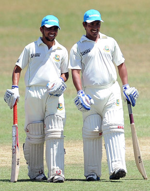 Mominul Haque (left) and Mohammad Ashraful take a break, Sri Lanka Development Emerging Team v Bangladeshis, Day 3, Matara, March 5 2013