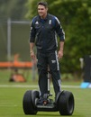 Kevin Pietersen rides a segway during the rain-break