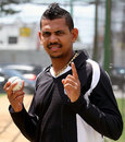 Sunil Narine celebrates after becoming the No. 1 Twenty20 bowler in the ICC rankings
