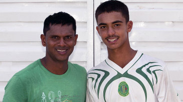 Shivnarine Chanderpaul with his son Tagenarine at the Guyana nets