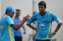Chaminda Vaas talks to fast bowler Suranga Lakmal during a practice session in Galle before the start of the Test series against Bangladesh, Bangladesh tour to Sri Lanka, Galle, March 6, 2013