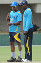 Chaminda Vaas and Sri Lanka captain Angelo Mathews examine the pitch at a practice session in Galle