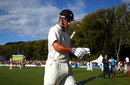Hamish Rutherford walks off at stumps after scoring an unbeaten 77 on debut