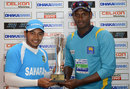 Mushfiqur Rahim and Angelo Mathews pose with the series trophy