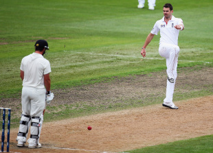 James Anderson boots the ball away in frustration, New Zealand v England, 1st Test, Dunedin, 3rd day, March 8, 2013