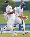 Dimuth Karunaratne and Kumar Sangakkara during their stand, Sri Lanka v Bangladesh, 1st Test, Galle, 1st day, March 8, 2013