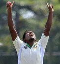 Abul Hasan raises his arms after catching Angelo Mathews, Sri Lanka v Bangladesh, 1st Test, Galle, 2nd day, March 9, 2013