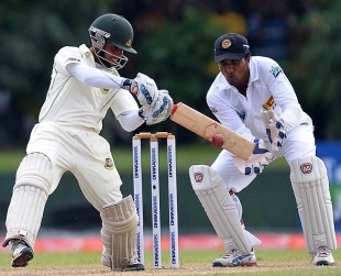 Mominul Haque plays a cut shot, Sri Lanka v Bangladesh, 1st Test, Galle, 2nd day, March 9, 2013