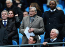 Dickie Bird at the Manchester City v Barnsley FA Cup match with former French footballer Patrick Vieira