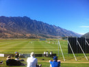 The Remarkables mountain range in the background of the Queenstown ground, New Zealand XI v England XI, Tour match, Queenstown, 1st day, February 27, 2013