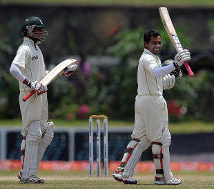 Mushfiqur Rahim celebrates after scoring a double century, Sri Lanka v Bangladesh, Sri Lanka v Bangladesh, 1st Test, Galle, 4th day, March 11, 2013