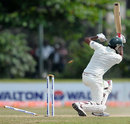 Shahadat Hossain loses his offstump to Shaminda Eranga, Sri Lanka v Bangladesh, 1st Test, Galle, 4th day, March 11, 2013