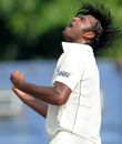 Shahdat Hossain reacts after getting opener Dimuth Karunaratne out, Sri Lanka v Bangladesh, 1st Test, Galle, 4th day, March 11, 2013