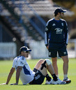 Kevin Pietersen trained with his right knee strapped