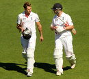 Nick Compton and Jonathan Trott go off the field at tea