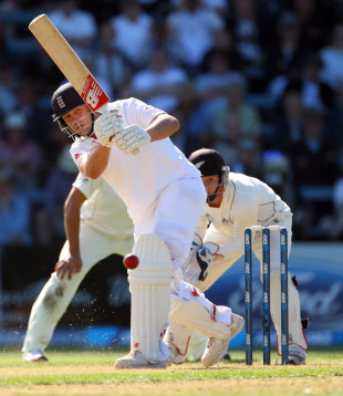 Jonathan Trott plays to the leg side, New Zealand v England, 2nd Test, Wellington, 1st day, March 14, 2013