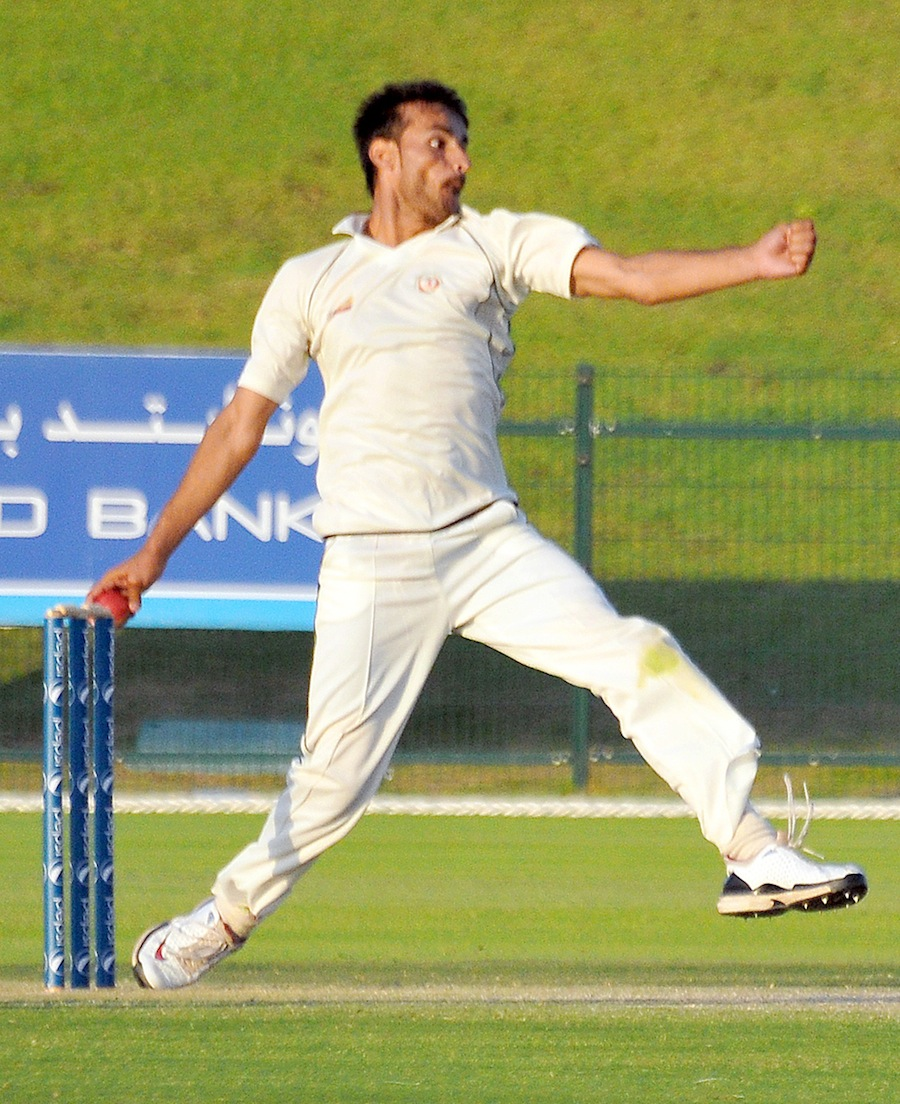 Izatullah Dawlatzai bowls during his five-wicket haul in the second innings