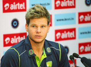 Steven Smith talks to the media after the first day's play of the Mohali Test was washed out, India v Australia, 3rd Test, 1st day, Mohali, March 14, 2013