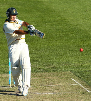 Ricky Ponting plays a pull shot during his innings of 104, Tasmania v Victoria, 1st day, Sheffield Shield, Hobart, March 14, 2013