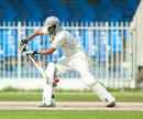 Khurram Khan plays a defensive shot, United Arab Emirates v Ireland, ICC Intercontinental Cup, Sharjah, 3rd day, March 14, 2013