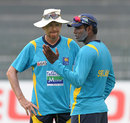 Sri Lanka captain Angelo Mathews talks to coach Graham Ford at a practice session in Colombo