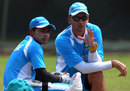 Bangladesh captain Mushfiqur Rahim with coach Shane Jurgensen at a practice session in Colombo, Sri Lanka v Bangladesh, 2nd Test, Colombo, March 15, 2013