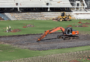 An excavator parked over the dug up pitches at the Adelaide Oval, Adelaide, March 15, 2013