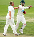 Mark Cosgrove and Tim Paine celebrate a wicket, Tasmania v Victoria, Sheffield Shield, Hobart, 2nd day, March 15, 2013