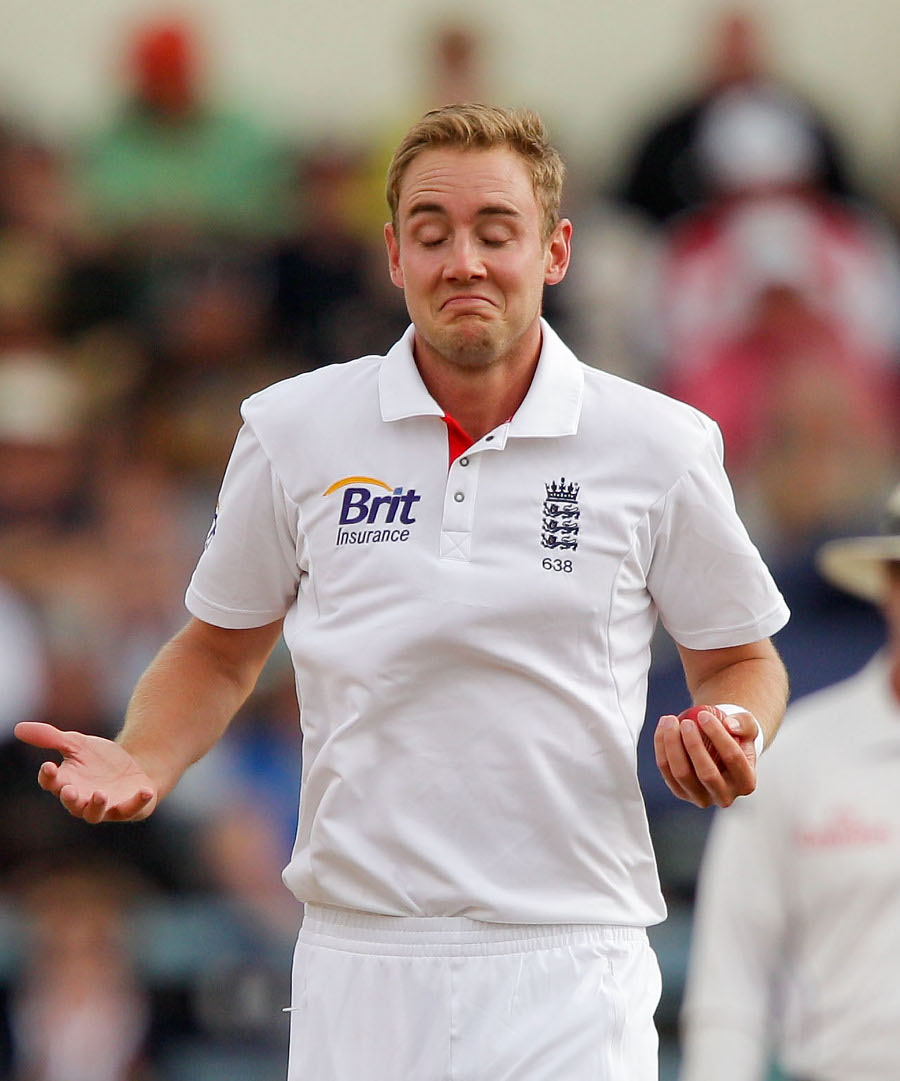 Stuart Broad shows his surprise after taking a return catch