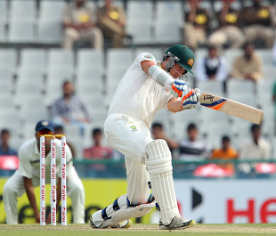 Mitchell Starc attempts an aggressive shot, India v Australia, 3rd Test, Mohali, 3rd day, March 16, 2013