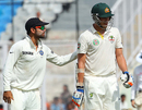 Mitchell Starc is patted on the back by Virat Kohli after being dismissed for 99