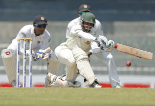 Mominul Haque sweeps during his 64, Sri Lanka v Bangladesh, 2nd Test, Colombo, 1st day, March 16, 2013