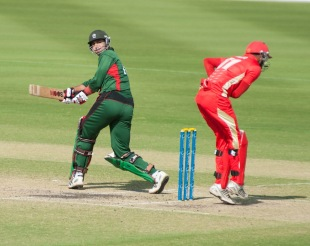 Ragheb Aga plays a shot behind square, Canada v Kenya, 2nd T20I, Dubai, March 16, 2013