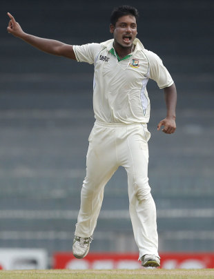 Abul Hasan celebrates the wicket of Dimuth Karunaratne, Sri Lanka v Bangladesh, 2nd Test, Colombo, 2nd day, March 17, 2013
