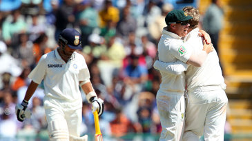 The Australians are ecstatic after dismissing Sachin Tendulkar