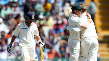 The Australians are ecstatic after dismissing Sachin Tendulkar