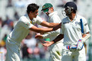 Mitchell Starc congratulates M Vijay for another big knock as he walks off, India v Australia, 3rd Test, Mohali, 4th day, March 17, 2013