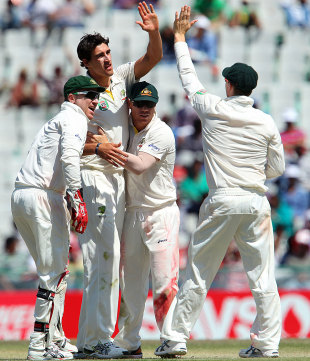 Mitchell Starc struck twice in an over, as Australia's quicks restricted India to a 91-run lead, but that good work was undone by Bhuvneshwar Kumar's burst