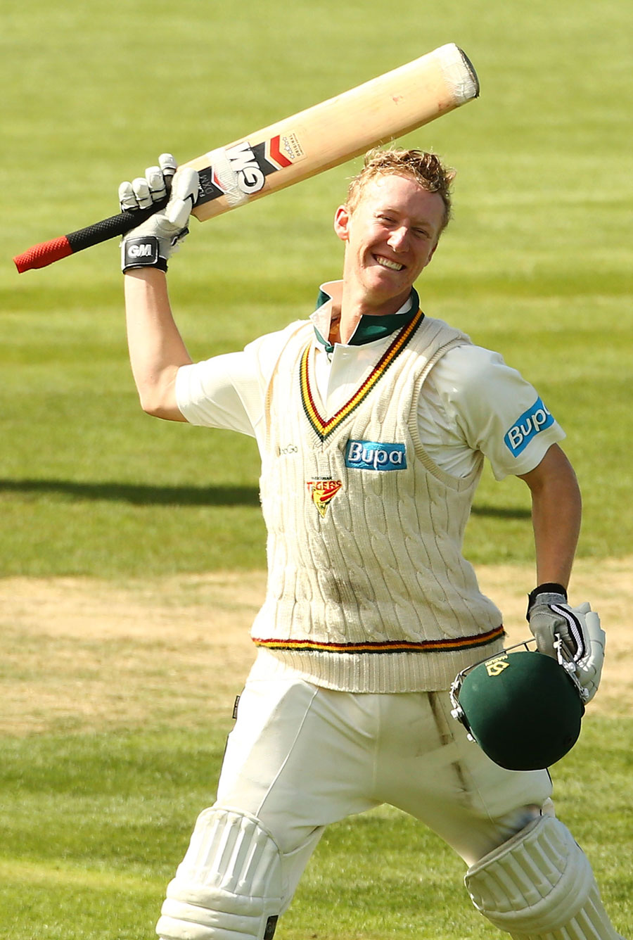 Jordan Silk celebrates his maiden first-class hundred for Tasmania