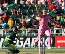 Ryan McLaren celebrates as Misbah-ul-Haq is caught behind, South Africa v Pakistan, 3rd ODI, Johannesburg, March 17, 2013