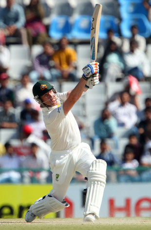 Brad Haddin plays an expansive shot during his innings of 30, India v Australia, 3rd Test, 5th day, Mohali, March 18, 2013,