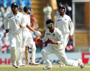 Ravindra Jadeja celebrates after taking a return catch to dismiss Moises Henriques, India v Australia, 3rd Test, 5th day, Mohali, March 18, 2013