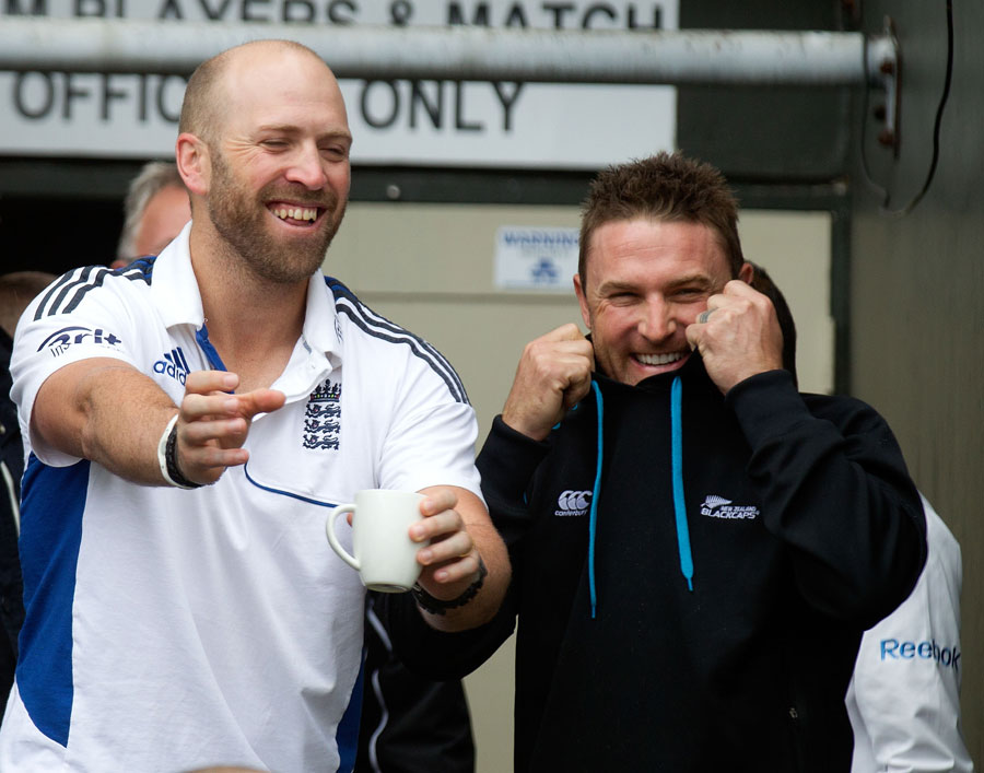 Matt Prior and Brendon McCullum share a laugh after the fifth day's play was washed out