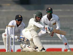 Mominul Haque prepares to sweep, Sri Lanka v Bangladesh, 2nd Test, 3rd day, Colombo, March 18, 2013
