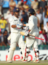 MS Dhoni and Ravindra Jadeja congratulate one another on steering India home to victory, India v Australia, 3rd Test, Mohali, 5th day, March 18, 2013